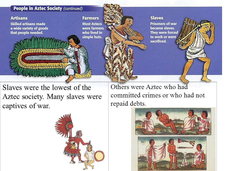 Slaves were the lowest of the Aztec society