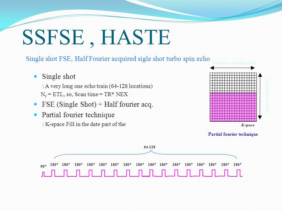 SSFSE , HASTE Single shot FSE (Single Shot) + Half fourier acq.