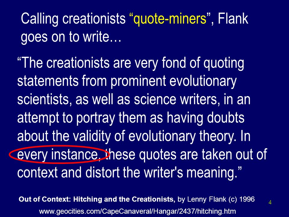 Out of Context: Hitching and the Creationists, by Lenny Flank (c) 1996
