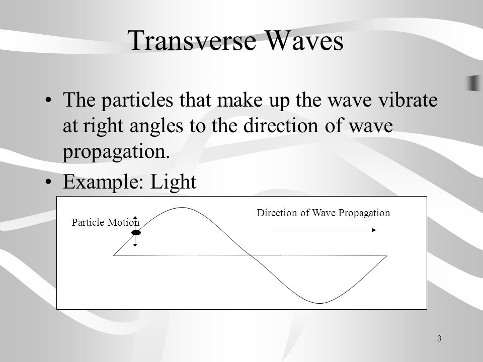 Transverse Waves The particles that make up the wave vibrate at right angles to the direction of wave propagation.