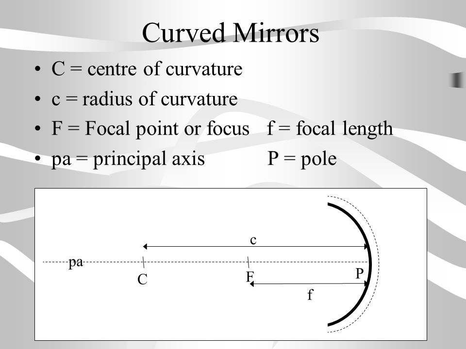 Curved Mirrors C = centre of curvature c = radius of curvature