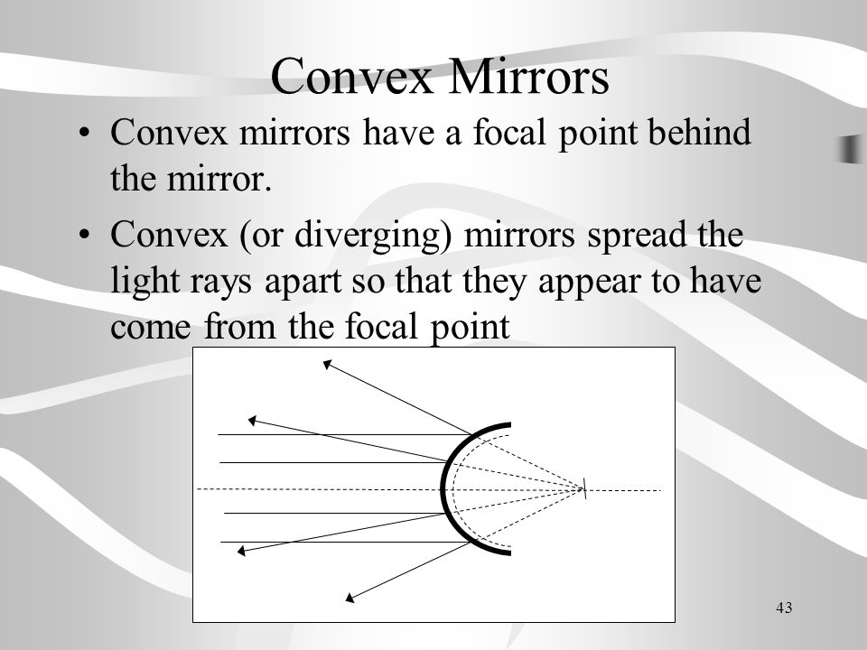 Convex Mirrors Convex mirrors have a focal point behind the mirror.