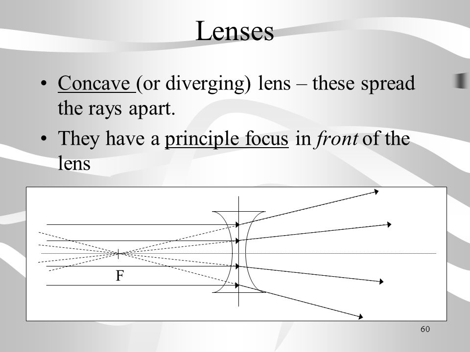 Lenses Concave (or diverging) lens – these spread the rays apart.