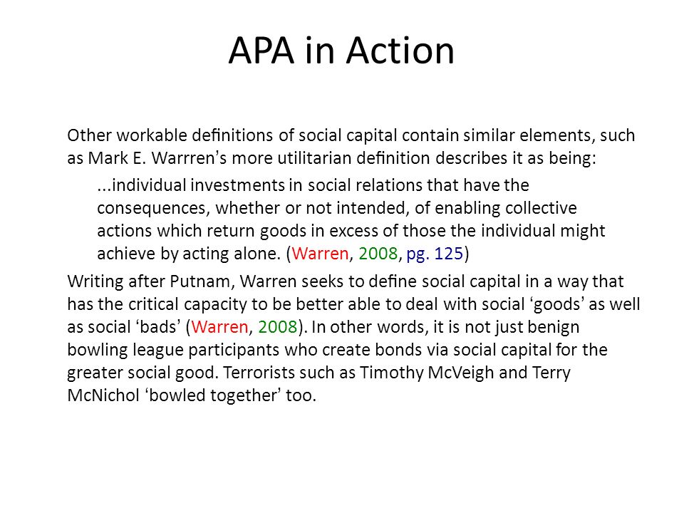 APA in Action