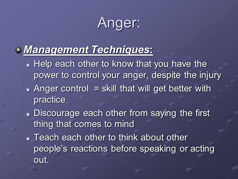 Anger: Management Techniques: