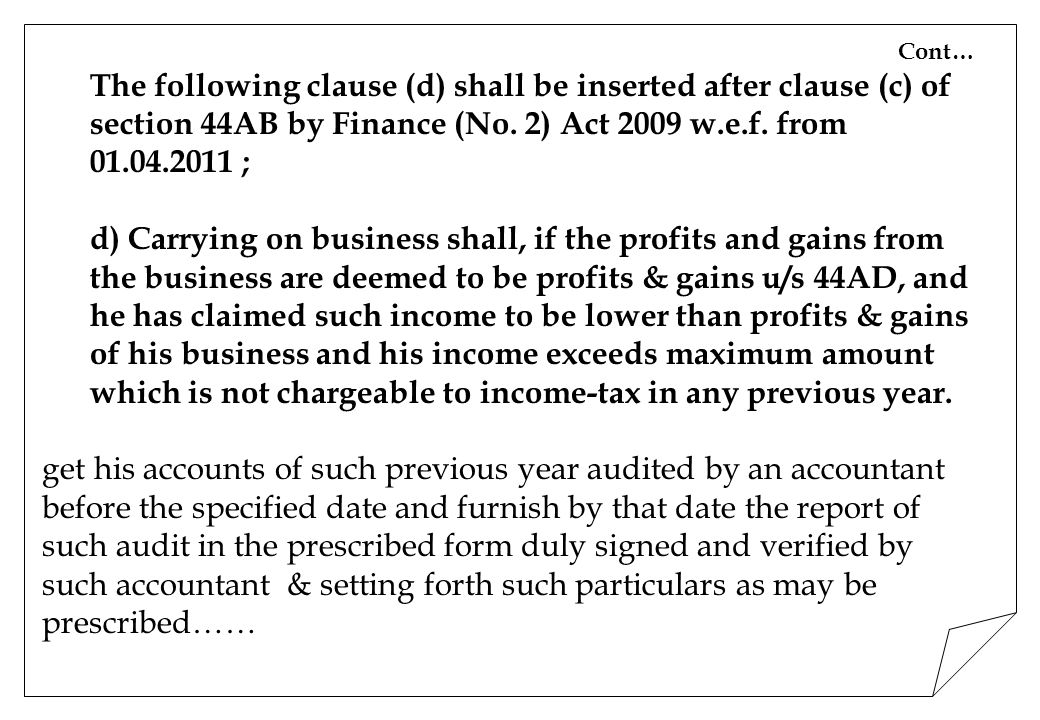 Tax Audit Us 44ab Of It Act Ppt Video Online Download