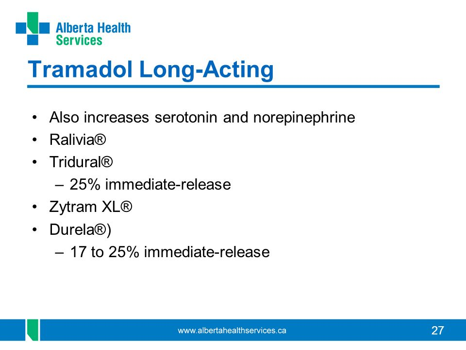 Tramadol Long-Acting Also increases serotonin and norepinephrine