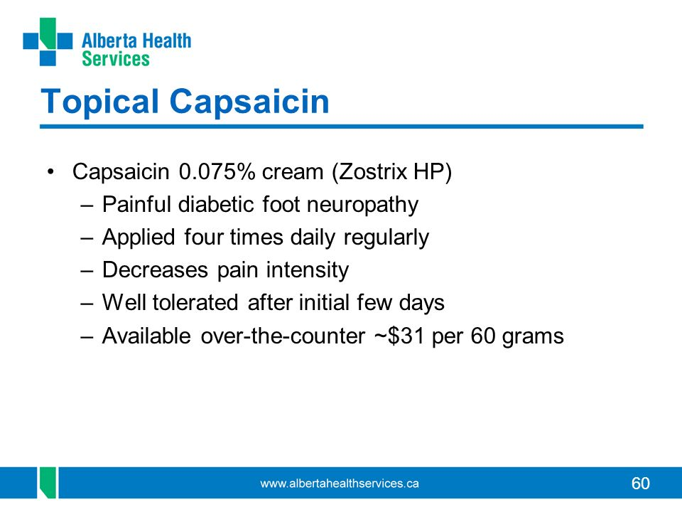 Topical Capsaicin Capsaicin 0.075% cream (Zostrix HP)