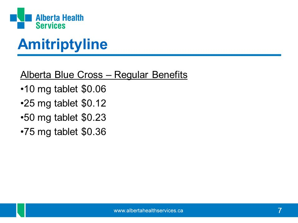 Amitriptyline Alberta Blue Cross – Regular Benefits 10 mg tablet $0.06