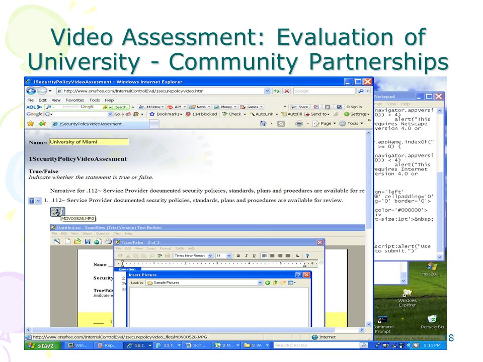 Video Assessment: Evaluation of University - Community Partnerships