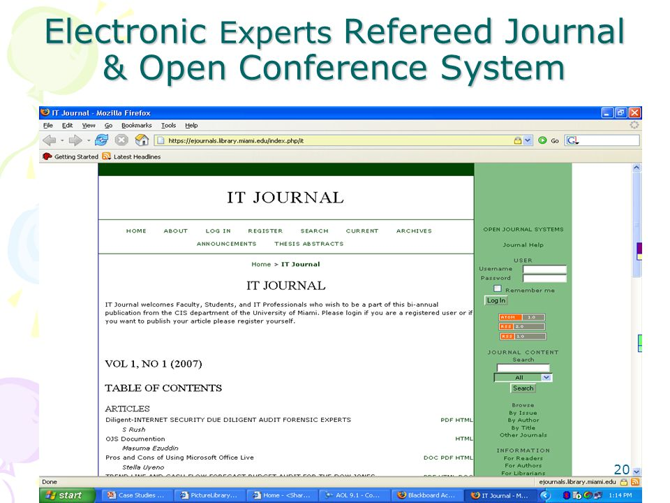 Electronic Experts Refereed Journal & Open Conference System