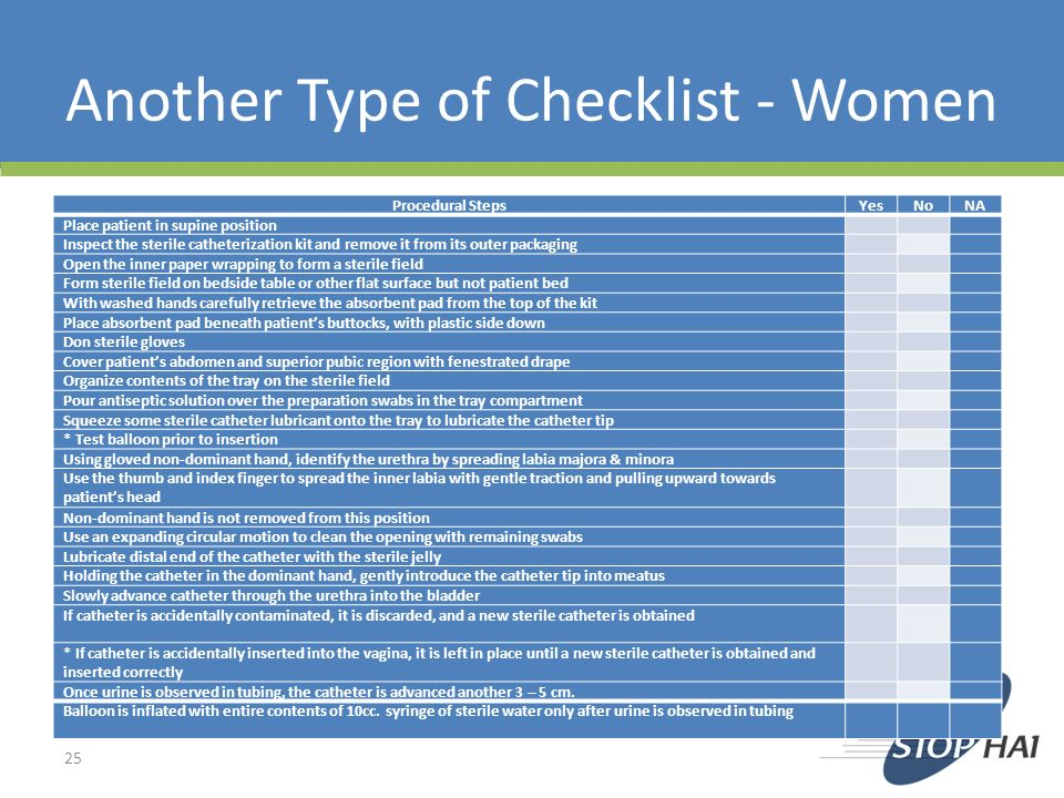 Another Type of Checklist - Women