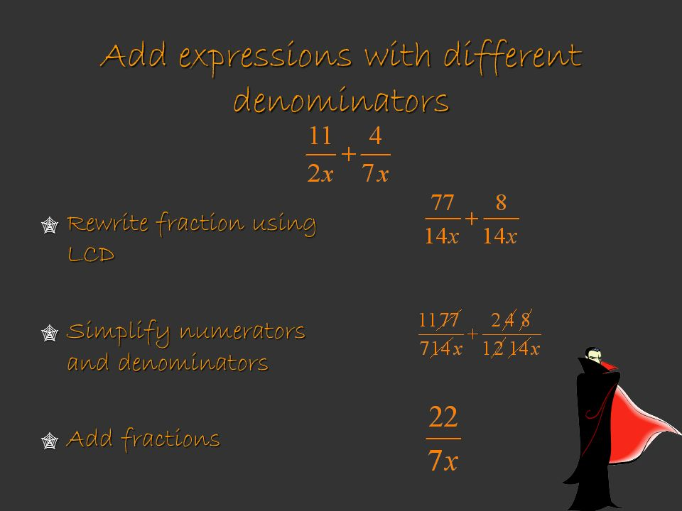 Add expressions with different denominators