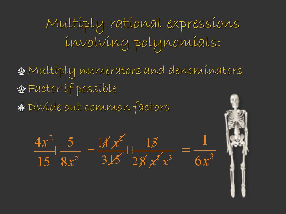 Multiply rational expressions involving polynomials: