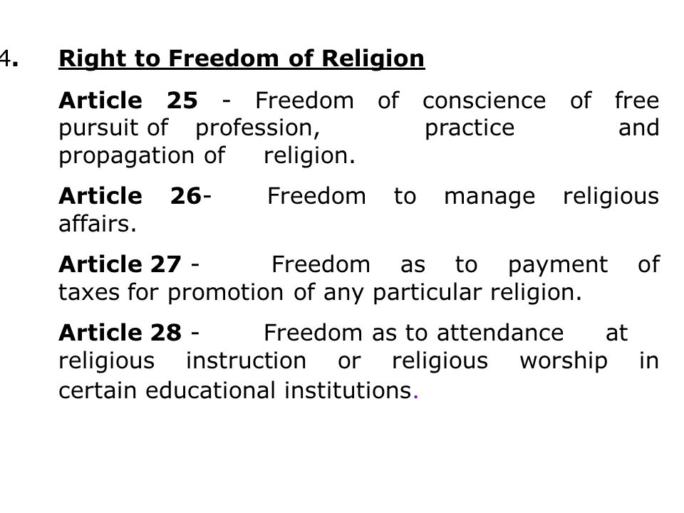 4. Right to Freedom of Religion