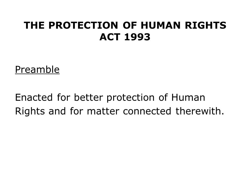 THE PROTECTION OF HUMAN RIGHTS ACT 1993