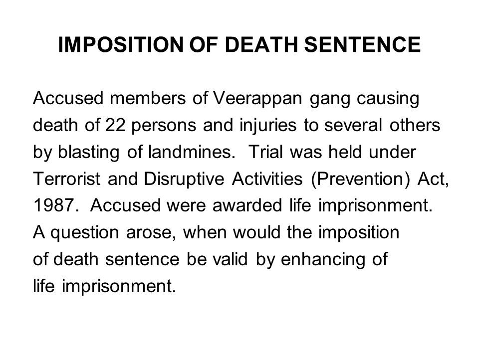IMPOSITION OF DEATH SENTENCE