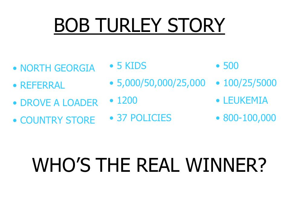 BOB TURLEY STORY WHO'S THE REAL WINNER 5 KIDS 5,000/50,000/25,000