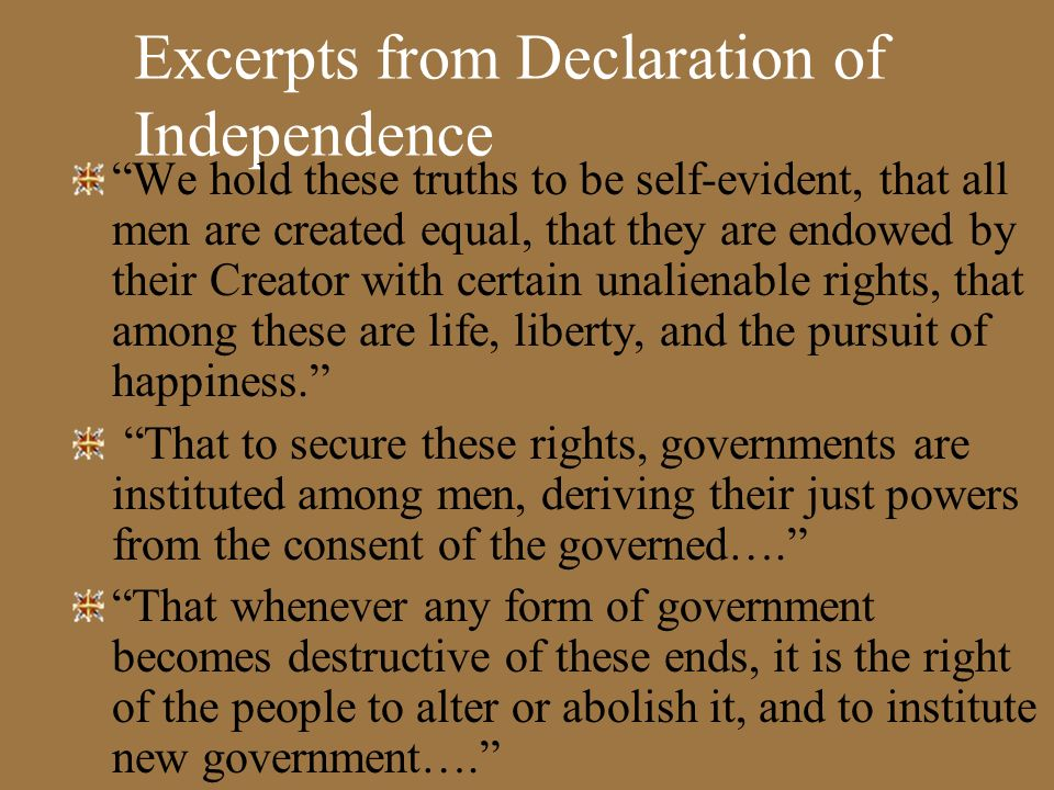 Excerpts from Declaration of Independence