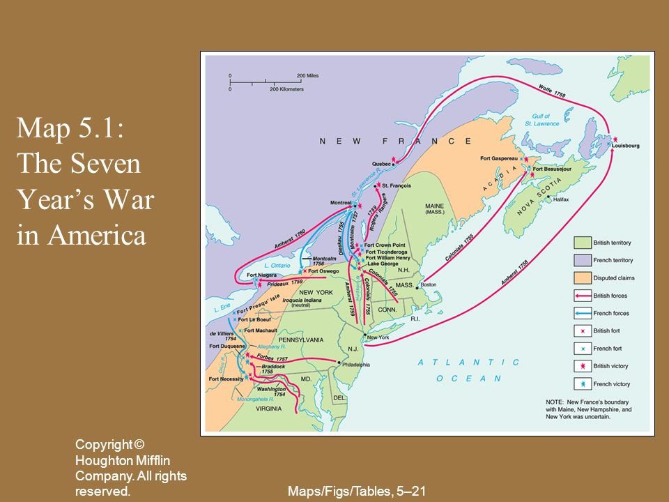 Map 5.1: The Seven Year's War in America