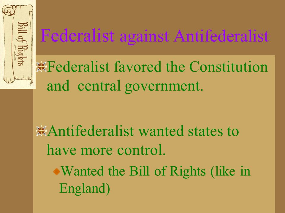Federalist against Antifederalist