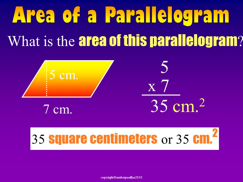 What is the area of this parallelogram