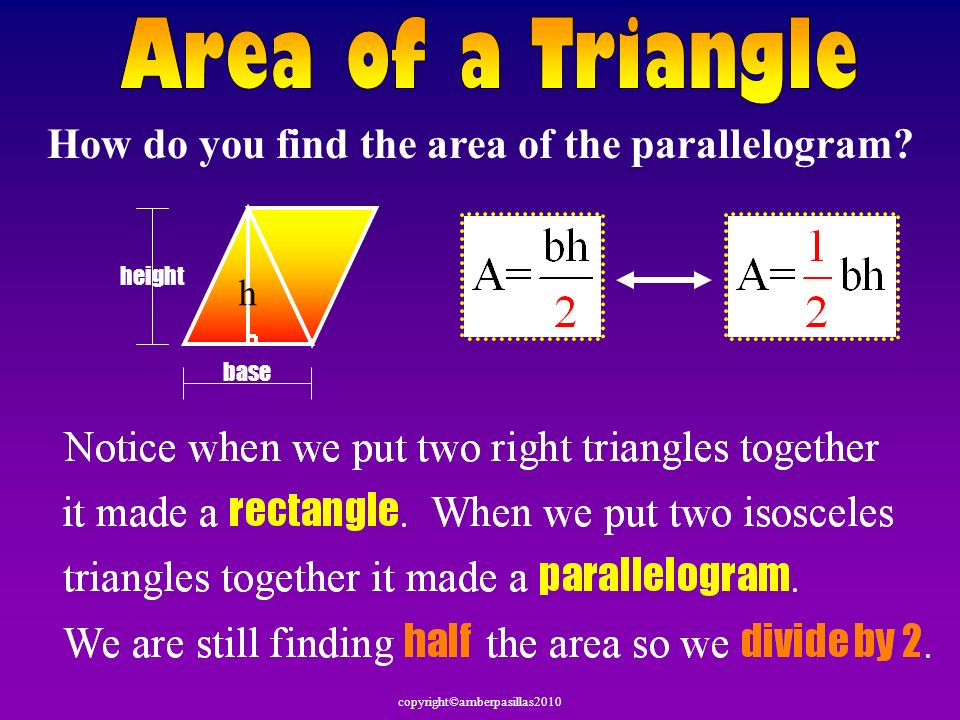 How do you find the area of the parallelogram
