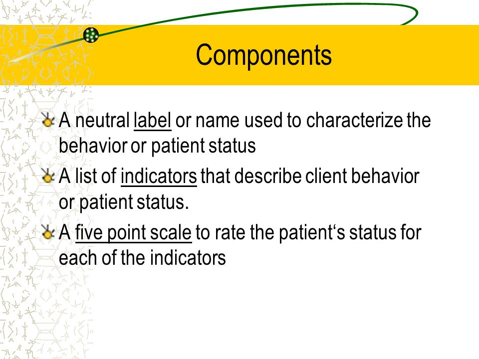 Components A neutral label or name used to characterize the behavior or patient status.