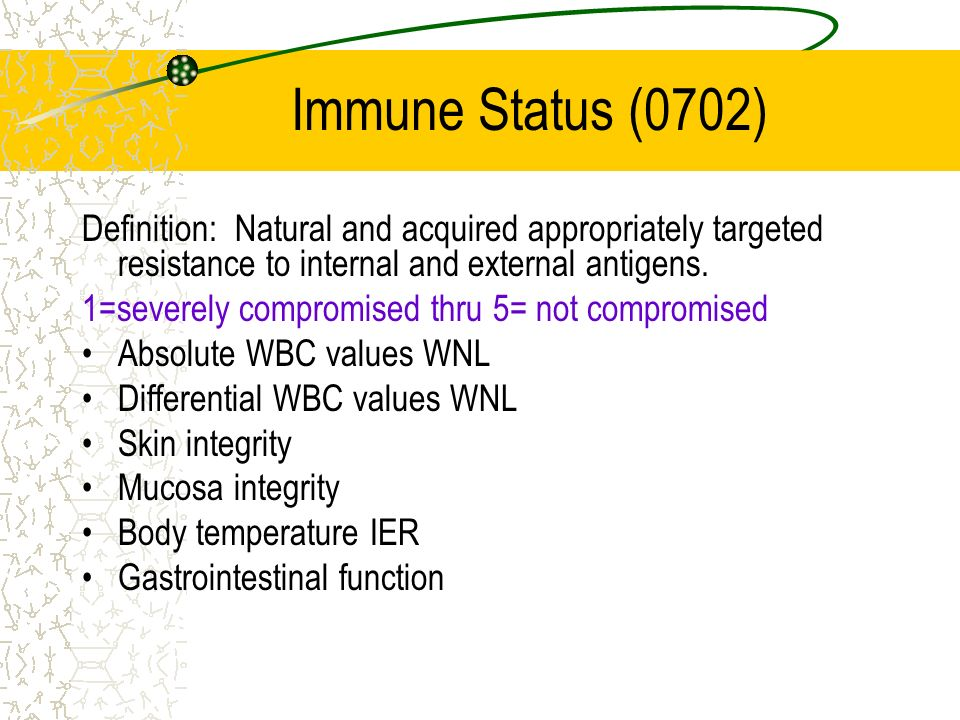 Immune Status (0702) Definition: Natural and acquired appropriately targeted resistance to internal and external antigens.