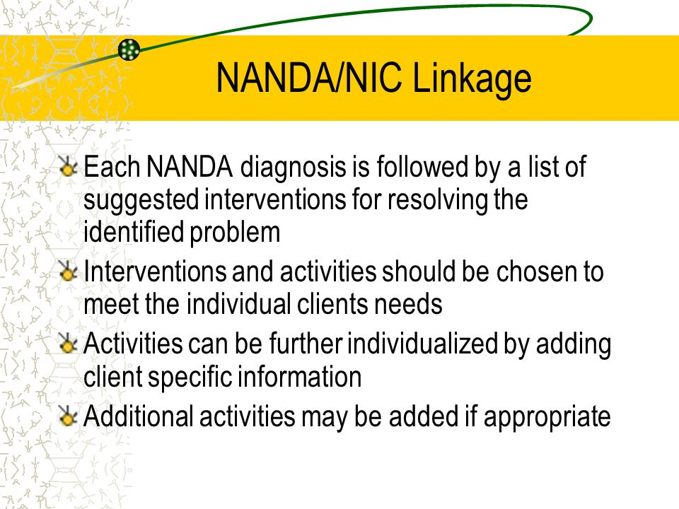 NANDA/NIC Linkage Each NANDA diagnosis is followed by a list of suggested interventions for resolving the identified problem.