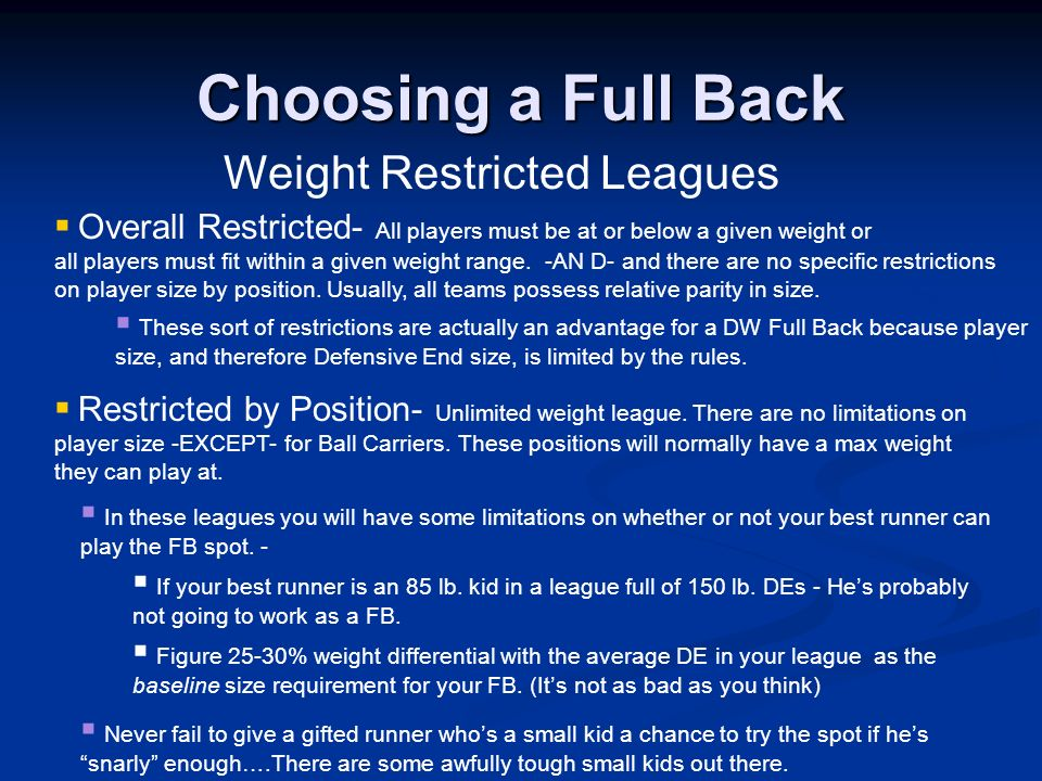 Weight Restricted Leagues