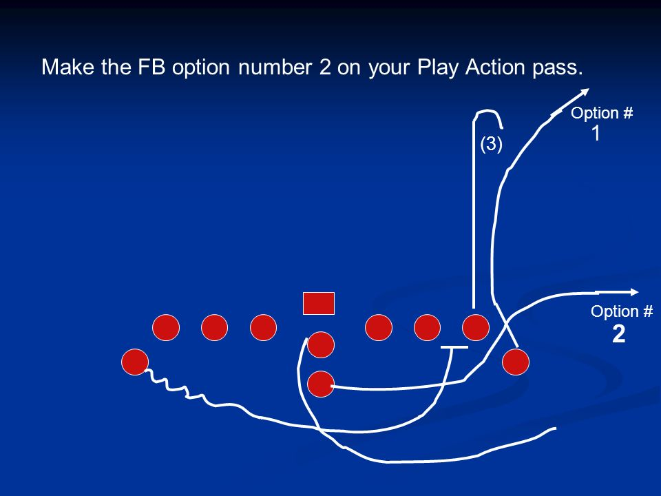 Make the FB option number 2 on your Play Action pass.