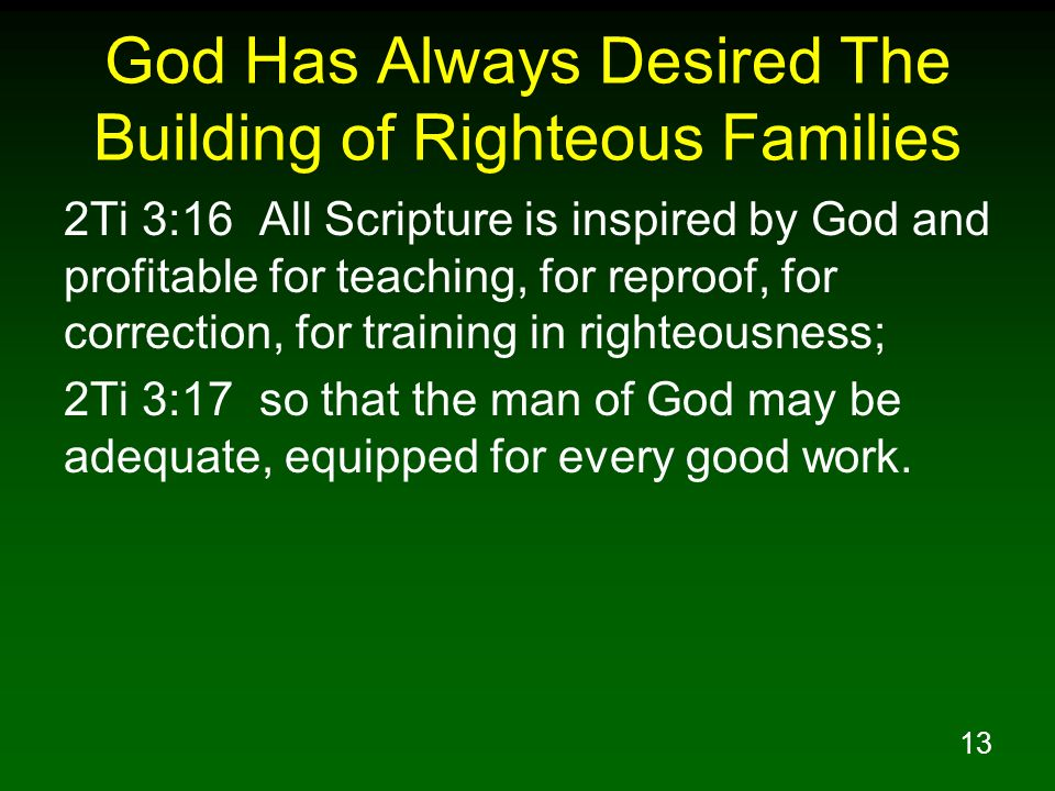 God Has Always Desired The Building of Righteous Families