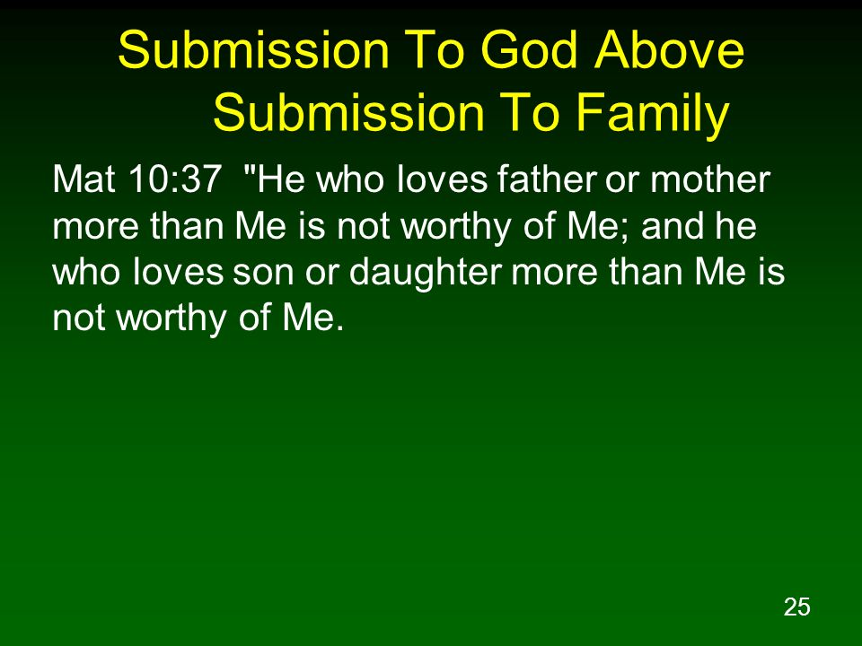 Submission To God Above Submission To Family