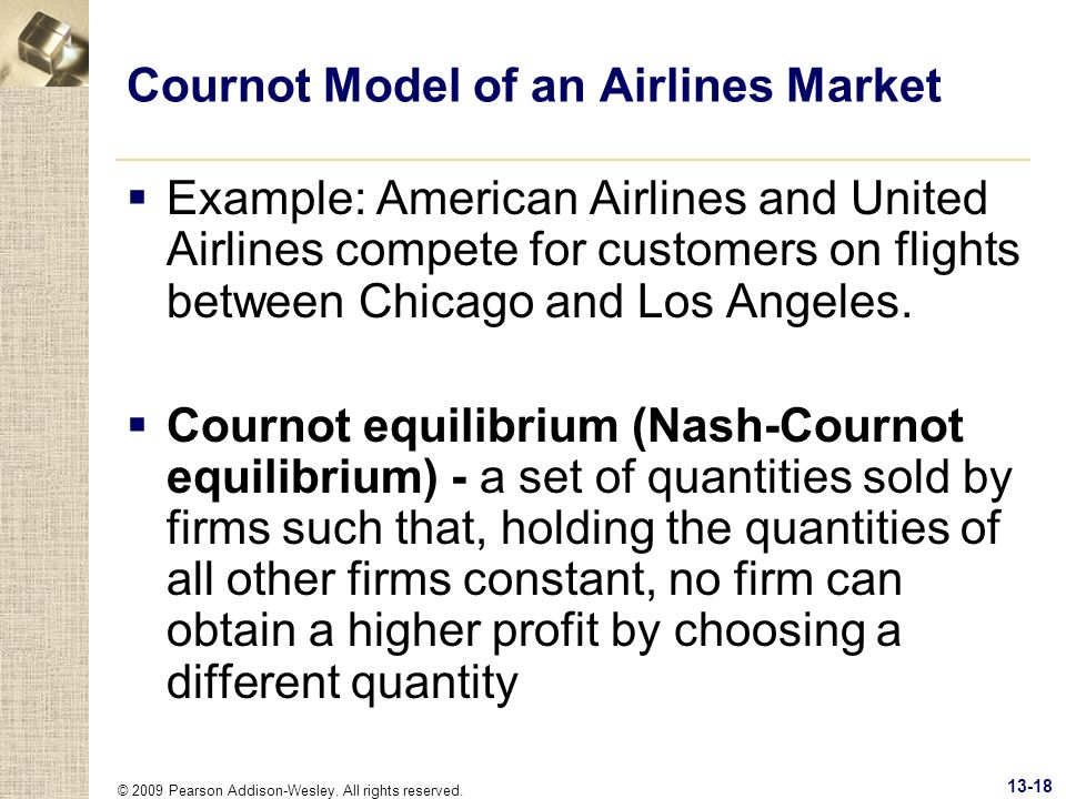 Cournot Model of an Airlines Market