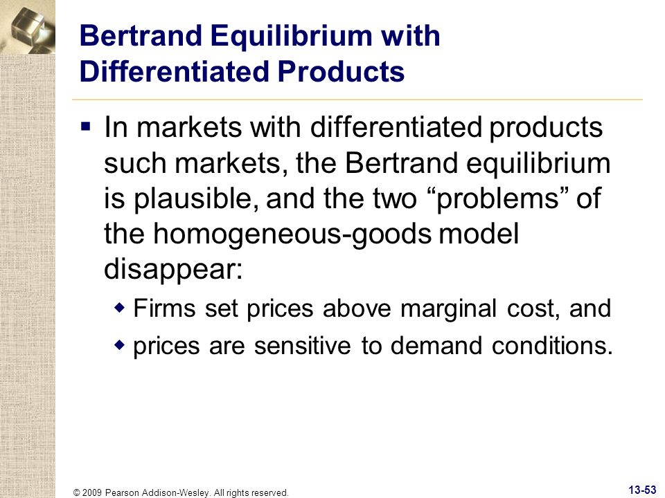 Bertrand Equilibrium with Differentiated Products
