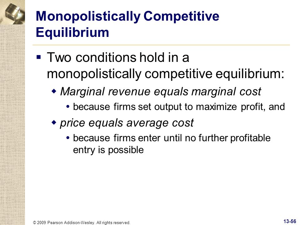 Monopolistically Competitive Equilibrium