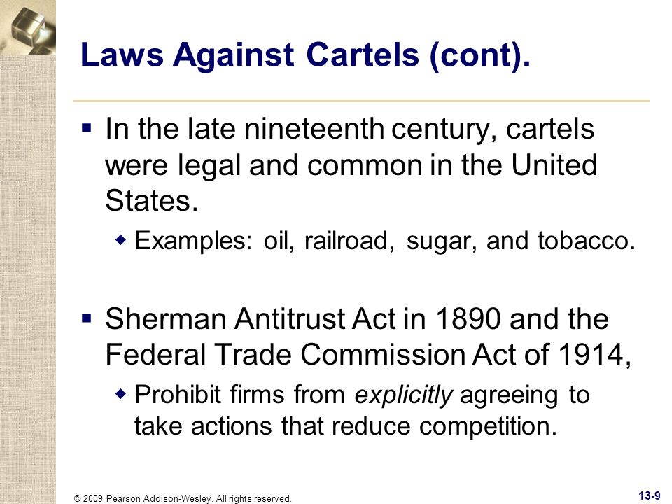 Laws Against Cartels (cont).