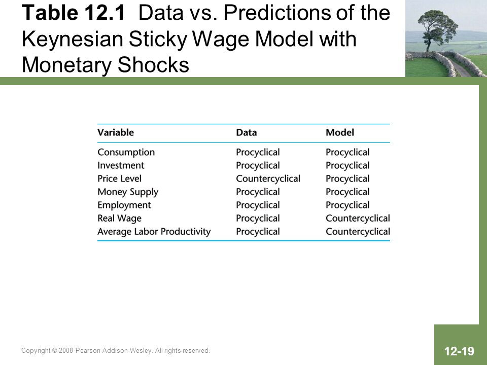 Table 12.1 Data vs. Predictions of the Keynesian Sticky Wage Model with Monetary Shocks