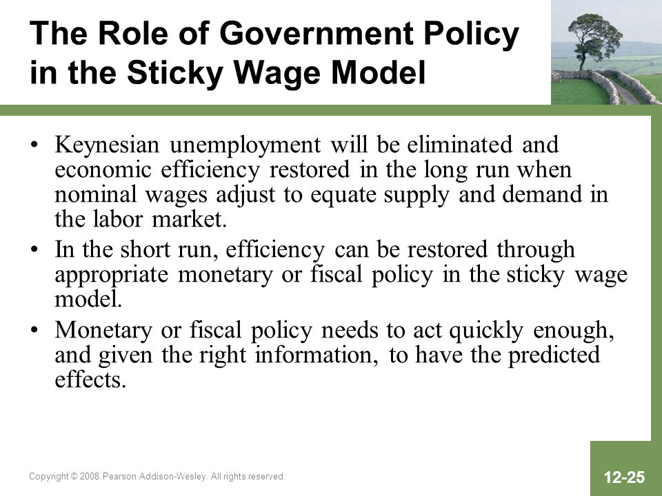 The Role of Government Policy in the Sticky Wage Model