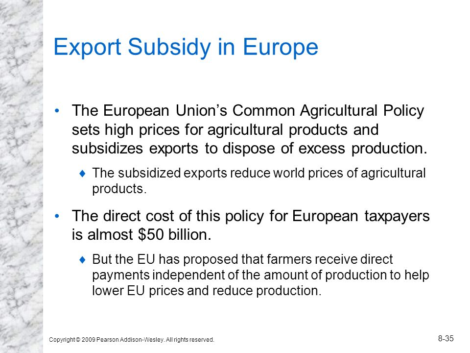 Export Subsidy in Europe