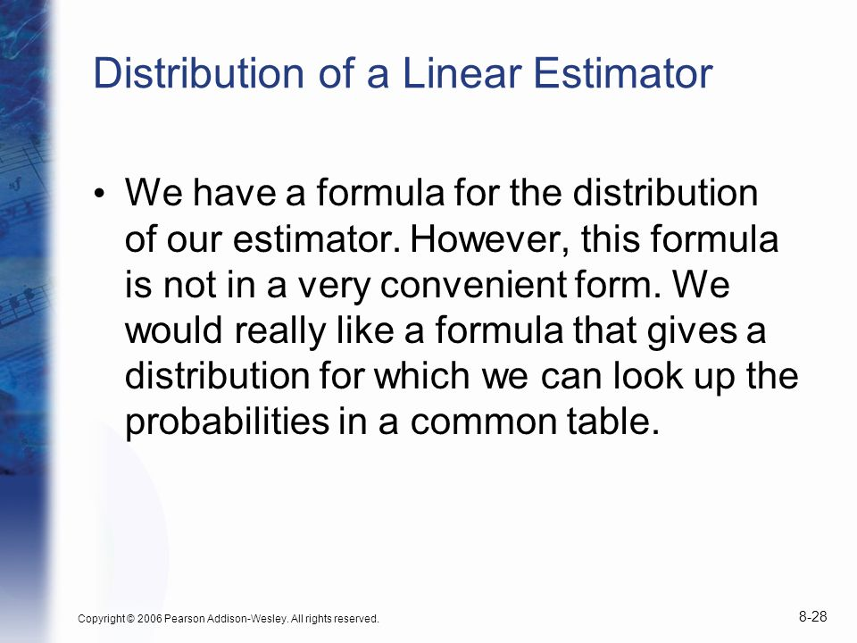 Distribution of a Linear Estimator