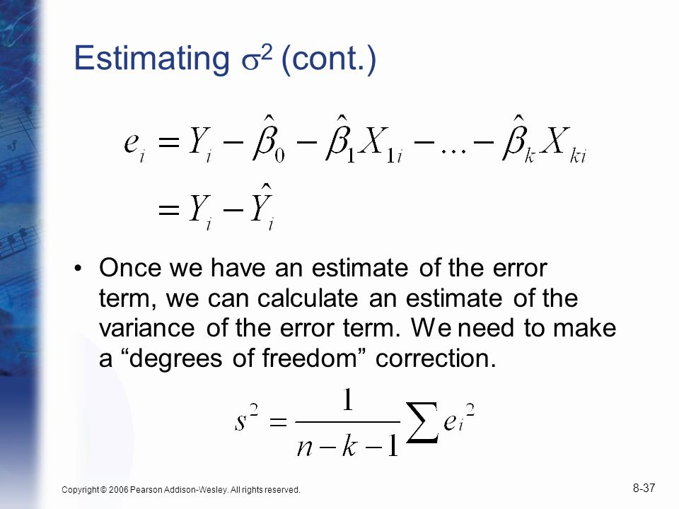 Estimating s2 (cont.)