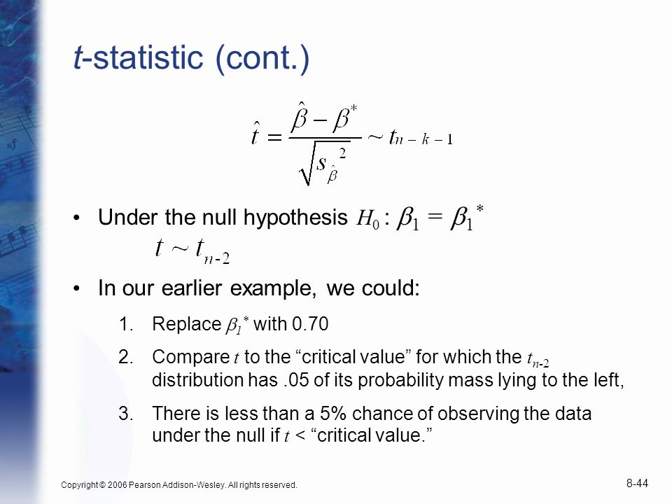 t-statistic (cont.) Under the null hypothesis H0 : b1 = b1*