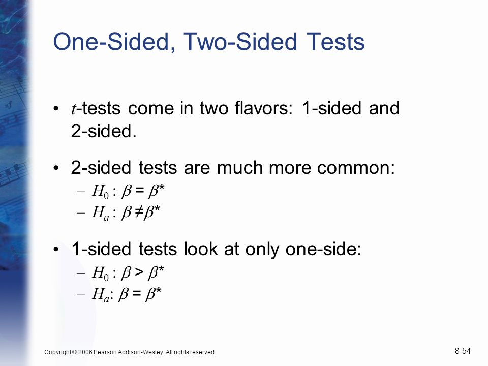 One-Sided, Two-Sided Tests