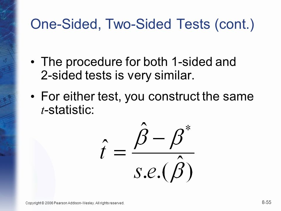 One-Sided, Two-Sided Tests (cont.)