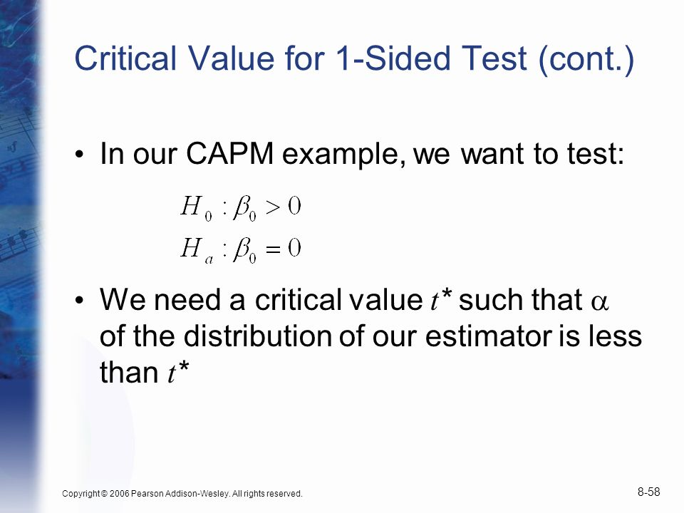 Critical Value for 1-Sided Test (cont.)