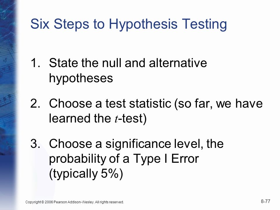 Six Steps to Hypothesis Testing