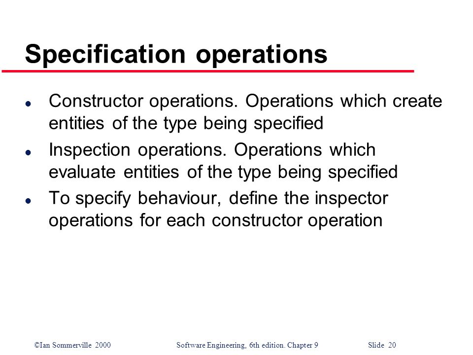 Specification operations
