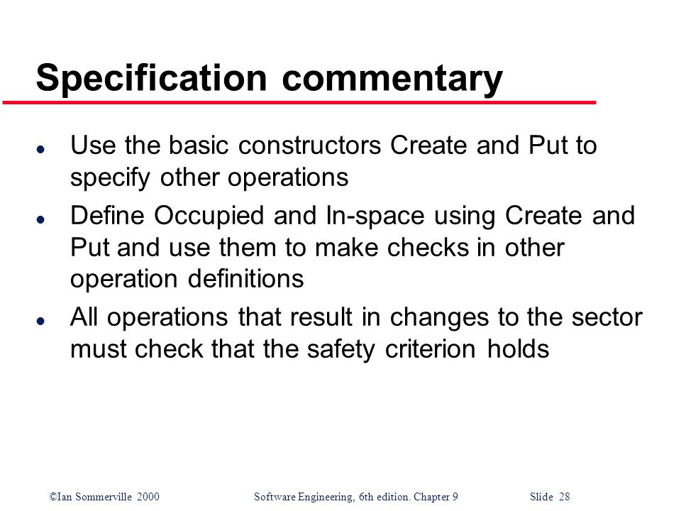 Specification commentary